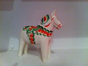 On being seen: A Swedish dala horse given to me by my mother-in-law after she heard me mention that they remind me of my grandparents.